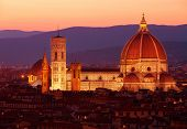 Cathedral Saint Mary of the Flower at night, Basilica di Santa Maria del Fiore in Tuscany Florence,
