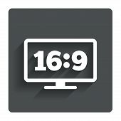 Aspect ratio 16:9 widescreen tv. Monitor symbol.