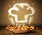 Delicious pizza with chef cook hat steam illustration on wood deck