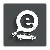 Electric car sign icon. Sedan saloon symbol.