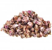 Heap pile of Bud Flower Plum  isolated on white background