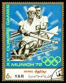 Vintage  Postage Stamp. Rowing, Kayak.