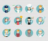 picture of air hostess  - Professional women avatar set on round web buttons a police sergeant  painter  chef  mechanic  air hostess  cleaner  waitress  postal worker  businesswoman  architect and doctor - JPG