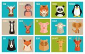 Vector icons of animals and pets in flat style