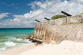 Needham's Point is a medieval fortification with cannons on the tropical Caribbean island of Barbado