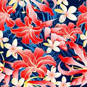 Lush Yellow And Red Tropical Seamless Pattern