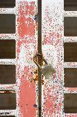 Old Door And Pad Lock