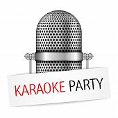 stock photo of microphone  - Karaoke party banner with a microphone - JPG