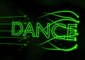 pic of neon green  - green neon dance sign with abstract background - JPG