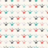 Simple seamless vector pattern with crown. Vintage colors