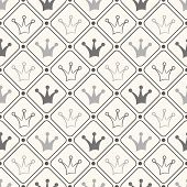 Simple seamless vector pattern with crown. Black and white color