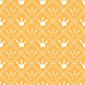 Simple seamless vector pattern with crown. Orange and white colo