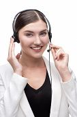 Call center smiling young woman operator with phone headset