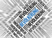 German marketing background - Bevolkerung (Population) - blur and focus