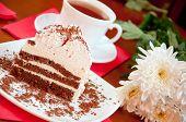 Tea, Cake And White Chrysanthemums, Still Life