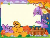 Autumn frame with Halloween theme 7 - eps10 vector illustration.