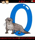 Letter O For Otter Cartoon Illustration