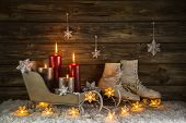 Christmas Decoration With Four Burning Candles And Old Vintage Objects.