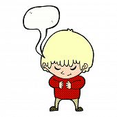 cartoon shy boy with speech bubble