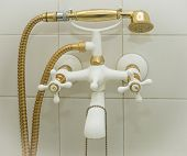 golden and white bathtub Faucet and shower head retro styled