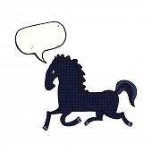 cartoon running black stallion with speech bubble