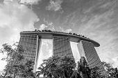 Black And White Rendition Of Marina Bay Sands Hotel Resort