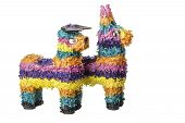picture of pinata  - Two colorful Mexican pinatas isolated on a white background - JPG