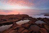 Sunrise North Avoca With Rockpool Reflections