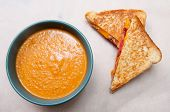 Tomato Garbanzo Soup Made With Cocnut Milk With Grilled Cheese And Tomato Sandwich