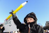 Boy with oversize pencil