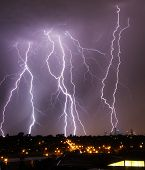 Lightning Over City Skyline