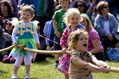 Children play tug-of-war