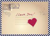 imitation postcar with heart