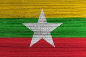 Burma Flag painted on wood background