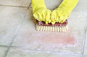 stock photo of suds  - hands in rubber gloves scrubbing the floor - JPG