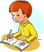 picture of schoolboys  - Schoolboy making his homework - JPG