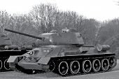 pic of panzer  - Black white illustration of tanks in gray shades - JPG
