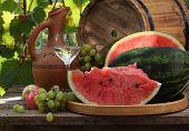 Grape Vodka, Water-melon, Ceramic Jug And Grapes