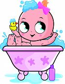 pic of bath tub  - Illustration of a cute baby girl in a tub taking a bubble bath and playing with her rubber duck toy - JPG