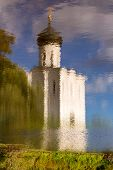 Reflection In Water Church Intercession Of Holy Virgin On Nerl River. Russia