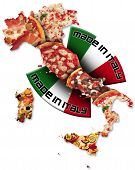 pic of italian flag  - Italian territory with pizza and italian flag - JPG