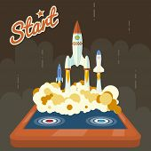 Retro Start Up Poster Concept Symbol Space Roket Ship Launch in the Sky Trendy Modern Flat Design Ic