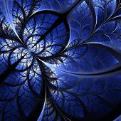 Fabulous Fractal Pattern In Darkblue. Collection - Tree Foliage. Computer Generated Graphics.