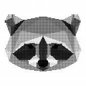 Abstract Monochrome Raccoon Portrait Of Circles Isolated On White Background