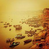 Small Boats At Ganga River - Vintage Effect.
