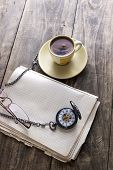 Vintage Pocket Watch With Cup Of Coffee On Old Book