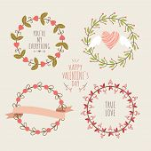 Cute vector hand-drown set of love elements for Valentine's day greeting cards