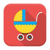 Children Buggy App Icon With Long Shadow