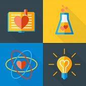 Vector St. Valentine's Day Greeting Card In Flat Style. Set Of Love Science Icons. Book, Flask, Atom