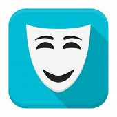 Happy Mask App Icon With Long Shadow
